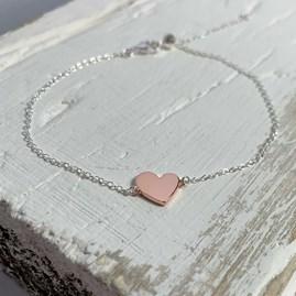 Silver Slider Bracelet With Rose Gold Heart Charm