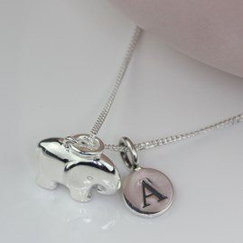 Personalised Solid Silver Elephant Necklace