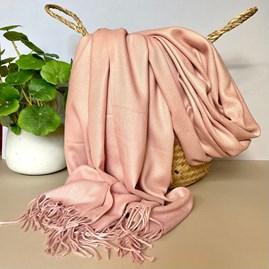 Super Soft Plain Pashmina Tassel Scarf in Light Pink