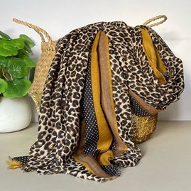 Taupe and Mustard Leopard Print Border Scarf