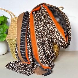 Taupe and Orange Leopard Print Border Scarf