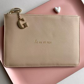Katie Loxton Personalised 'La Vie En Rose' Hint Of Pink Pouch