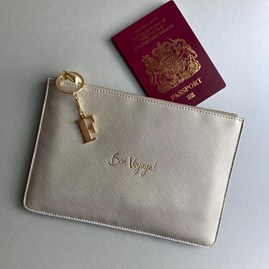 Katie Loxton Personalised 'Bon Voyage' Space Grey Pouch