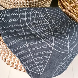 Navy Leaf Patterned Scarf