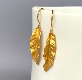 Solid Silver And 18ct Gold Banana Leaf Earrings