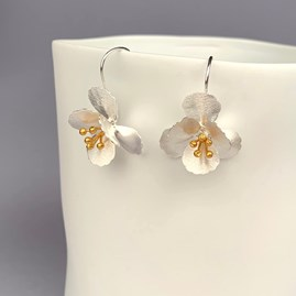 Solid Silver Cherry Blossom Earrings
