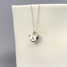 Personalised Solid Silver Origami Fox Necklace