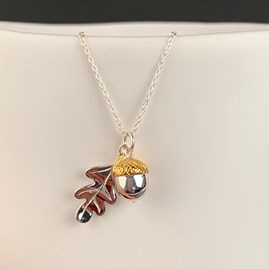 Personalised Solid Silver Oak Leaf And Acorn Necklace