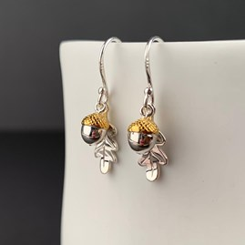 Solid Silver Oak Leaf And Acorn Earrings
