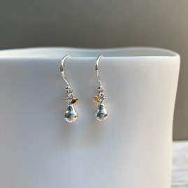 Sterling Silver And Gold Pear Charm Earrings