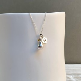 Personalised Sterling Silver And Gold Pear Charm Necklace