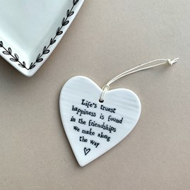 'Life's Truest Happiness...' Porcelain Hanging Heart