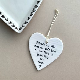 'Friends Are Like Stars...' Porcelain Hanging Heart