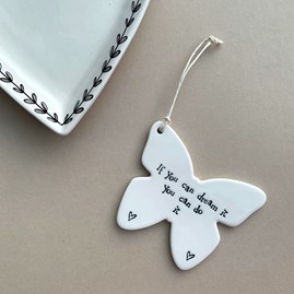 'If You Can Dream It...' Porcelain Hanging Butterfly