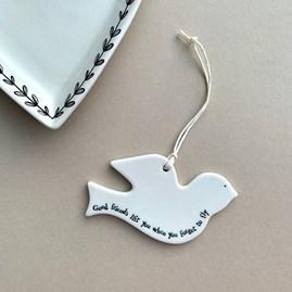 'Good Friends...' Porcelain Hanging Bird