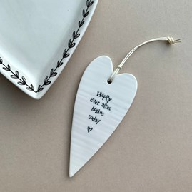 'Happy Ever After...' Porcelain Hanging Heart