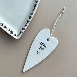 'Love You' Porcelain Hanging Heart
