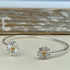 Sterling Silver Daisy Bangle