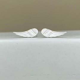 Sterling Silver Angel Wings Stud Earrings