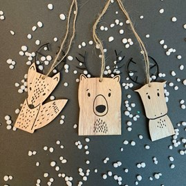 Woodland Animal Hanging Decoration With Antlers