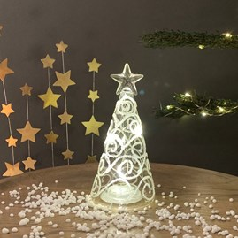 Light Up Glass Christmas Tree With Star