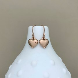 Rose Gold Puffed Heart Earrings