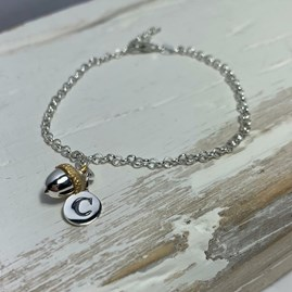 Personalised Gold And Solid Silver Acorn Bracelet