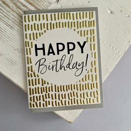 'Happy Birthday!' Gold Textured Greetings Card