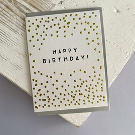 'Happy Birthday! Gold Dots Greetings Card