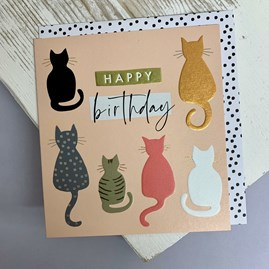 'Happy Birthday' Cats Greetings Card