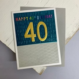 'Happy 40th Birthday' Greetings Card