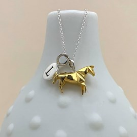 Personalised Gold Origami Horse Necklace