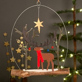 Majestic Stag With Baubles Hanging Decoration