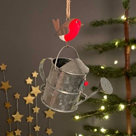 Robin On A Watering Can Hanging Decoration