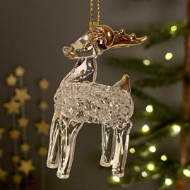 Hanging Glass Reindeer Decoration
