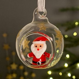Glass Bauble With Santa