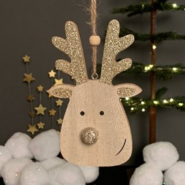 Wood And Glitter Reindeer Tree Decoration