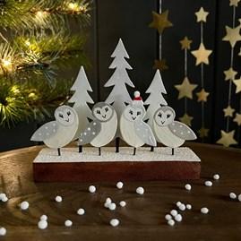 Tin Barn Owls on Block Christmas Decoration
