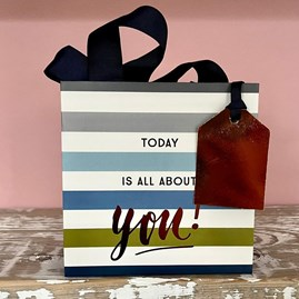 'Today Is All About You' Blue Striped Small Gift Bag