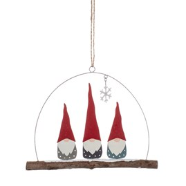 Tomte Trio of Gnomes Hanging Decoration