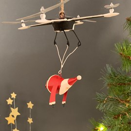 Santa And Drone Christmas Decoration