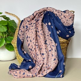 Two Tone Spot Colour Block Scarf in Blue and Pink