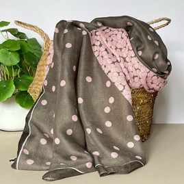 Two Tone Spot Colour Block Scarf in Pink and Grey