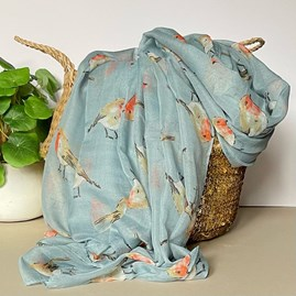 Watercolour Robins Print Scarf in Light Blue