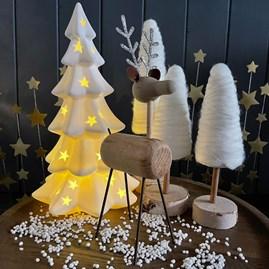 Wood and Metal Standing Reindeer Decoration