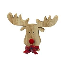Wooden Reindeer Head Decoration With Tartan Scarf