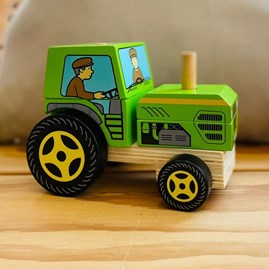 Wooden Stacking Tractor Toy