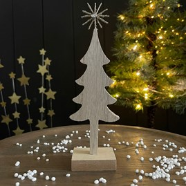 Wooden Tree Decoration with Gold Star