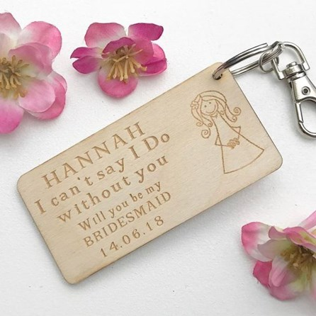 Personalised 'Will You Be My...' Wooden Key Ring