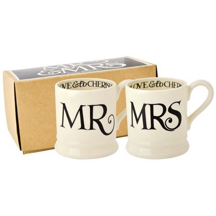 Emma Bridgewater Black Toast Mr & Mrs 1/2 Pint Mugs